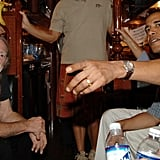 Hanging out with Willie Nelson while attending the singer's music festival, Farm Aid, in 2005