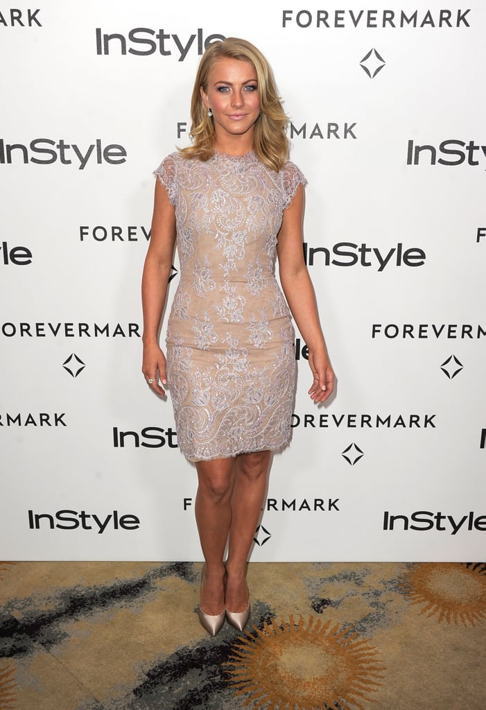 Julianne Hough topped off her lace dress with her St. Barts tan.