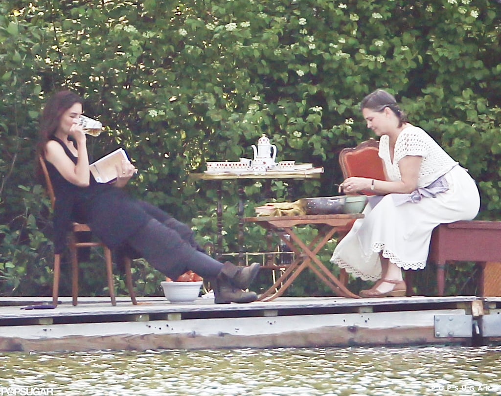 Katie Holmes sat on set with another actress in Connecticut.
