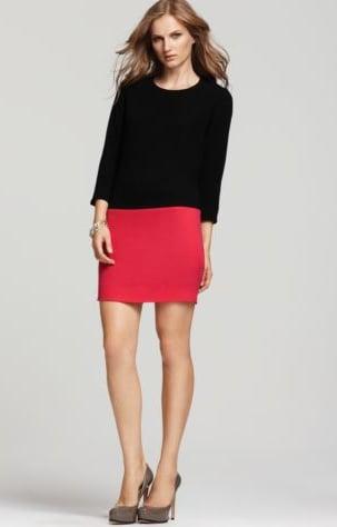 A sleek colorblock effect.  DKNY Colorblock Dress ($295)