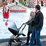Reagan, Chris, and Amy take in the holiday decor lining neighborhood streets.  Photo courtesy of NBC