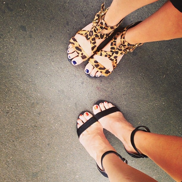 Leopard print and two-strap heels! Two of our fave things in the world.