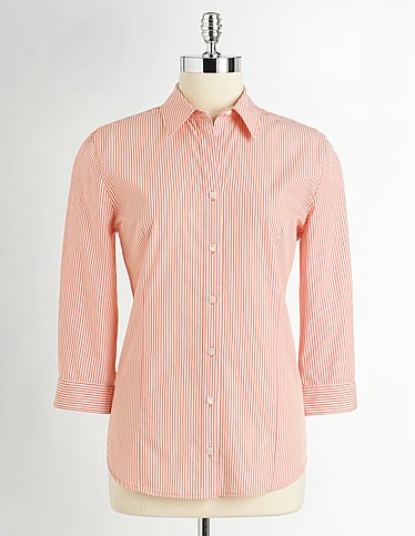 We can envision this tangerine-hued button-up paired with jeans, trousers, tucked into a skirt, under a crewneck sweater, or worn with cutoff shorts. No matter how you style it, it will totally add crisp color and shape to your final look. Lord & Taylor Striped Cotton Shirt in Cantaloupe ($35)