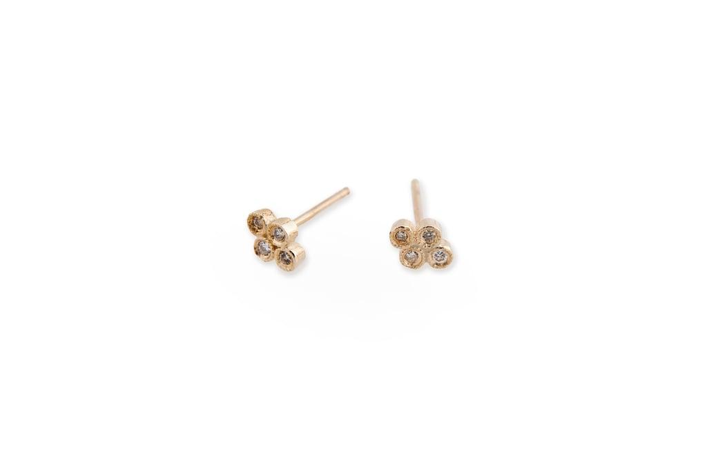 Jacquie Aiche 14k Four Diamond Cluster Bezel Stud ($415)