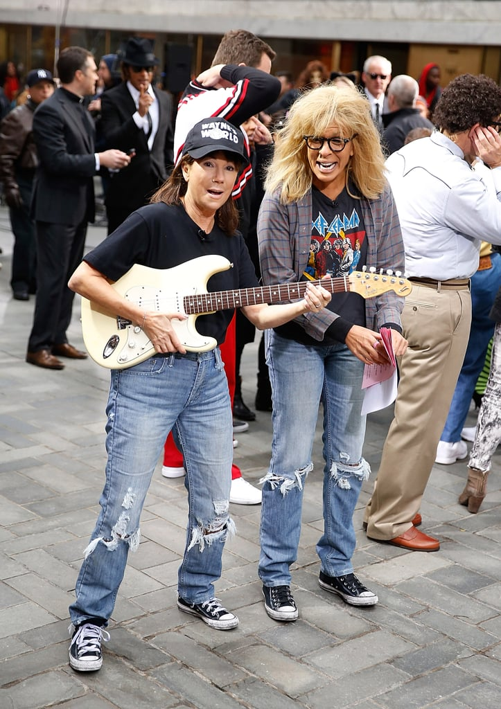 Kathie Lee Gifford and Hoda Kotb dressed as Wayne and Garth from Wayne's World in NYC in 2014.