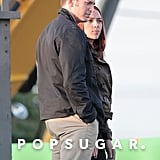 Scarlett Johansson and Chris Evans on Captain America 2 Set