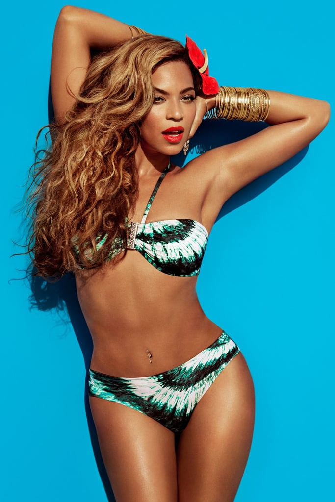 Beyoncé Knowles wears bikinis in her new Summer ads for H&M! The images were released this morning, showing Beyoncé in a range of two-pieces, some of which she apparently had a hand in designing. Last month, Beyoncé shared a teaser image of herself lounging on a beach chair, hinting at the tropical themes to come. Appearing in the Swedish retailer's upcoming campaign is just one of the endeavors keeping Beyoncé busy lately. She arrived in Serbia over the weekend ready to kick off her Mrs. Carter Show World Tour with a show in Belgrade tonight. The next week will see Beyoncé on stage in Croatia, Slovakia, and Holland. She won't take the stage in the US until June, but you can already get a sneak peek at a portion of Beyoncé's tour costumes.