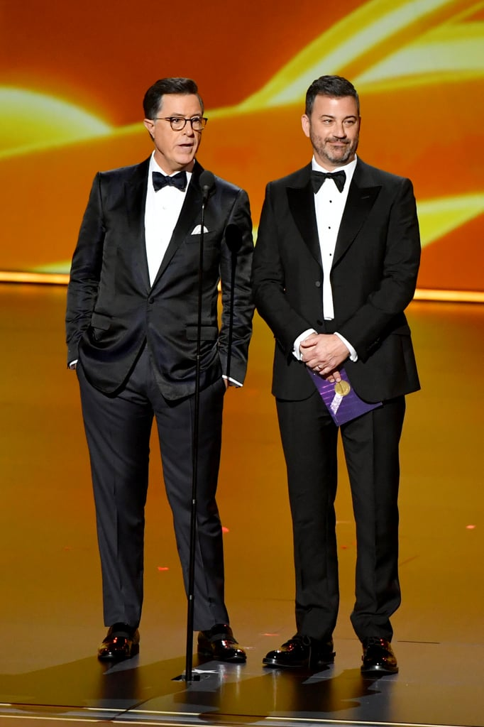 Stephen Colbert and Jimmy Kimmel at the 2019 Emmys