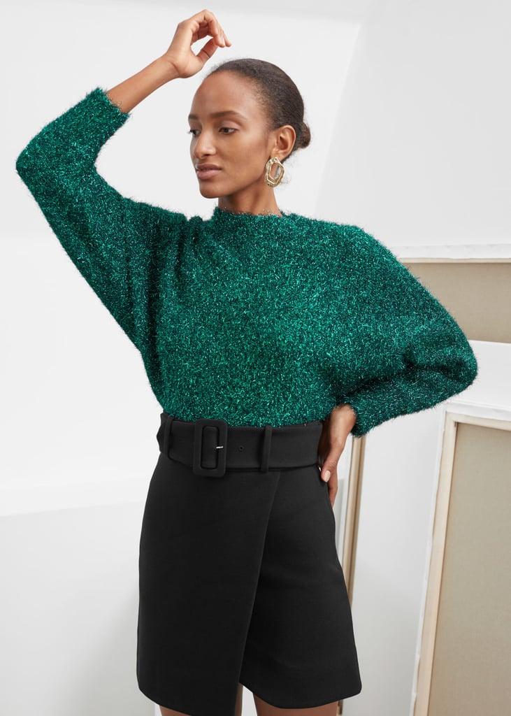 & Other Stories Fuzzy Metallic Sweater