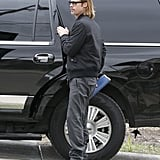 Brad Pitt got a lift to visit a house in New Orleans.