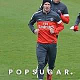 David Beckham jogged down the training field in Paris on Friday.