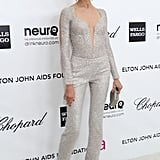 Karolina Kurkova got our attention with this shimmery body-con jumpsuit at Elton John's Oscars viewing party.