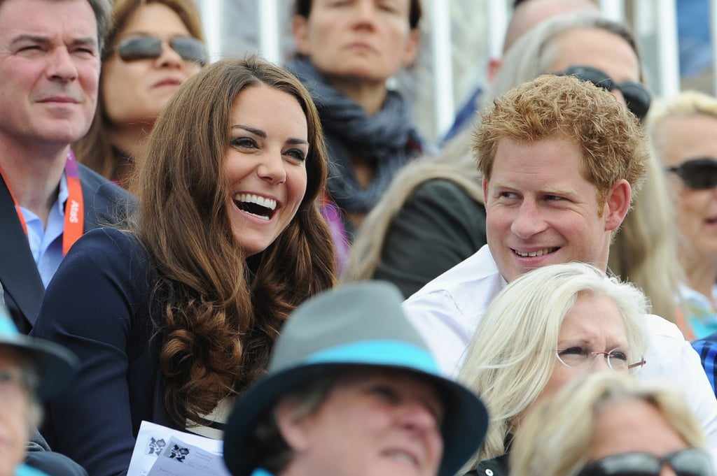 She laughed while sitting with Prince Harry during the London 2012 Olympic Games.