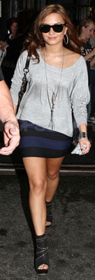 Demi Lovato Wears Striped Bandage Skirt in NYC