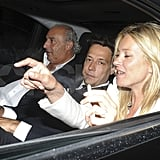 Kate Moss hanging out with Jamie Hince and Philip Green.