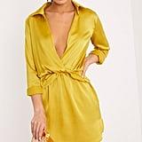 Pretty Little Thing Katalea Dark Lime Twist-Front Silky Shirt-Dress
