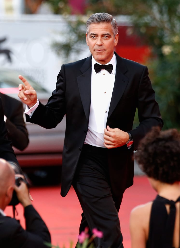 George Clooney wore a tuxedo at the Venice Film Festival opening ceremony.