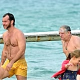 Jude Law went swimming in the South of France.