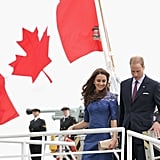 July 3rd, 2011 Disembarking in Québec, Canada.   Kate wears a navy Jacquenta dress from Erdem's pre-fall 2011 collection.