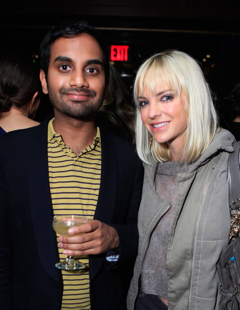 Aziz chatted with pal Anna Faris.