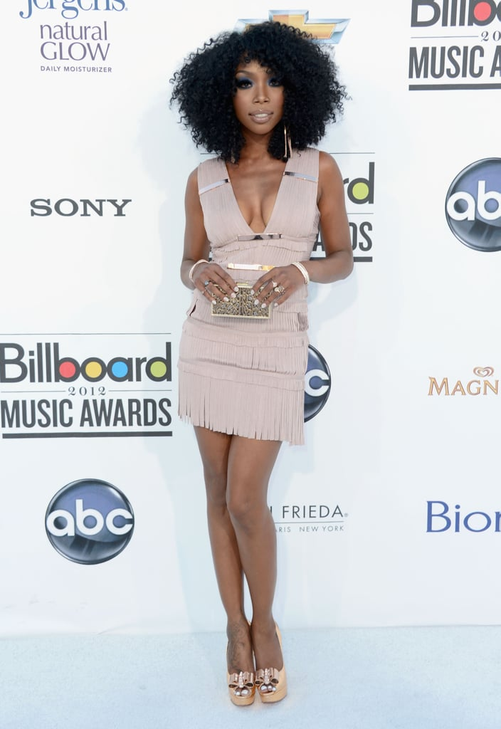 Brandy Norwood kept it short and sexy in a nude-toned Herve Leger mini.