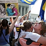 American University students embraced outside the Supreme Court in Washington DC after the DOMA ruling.