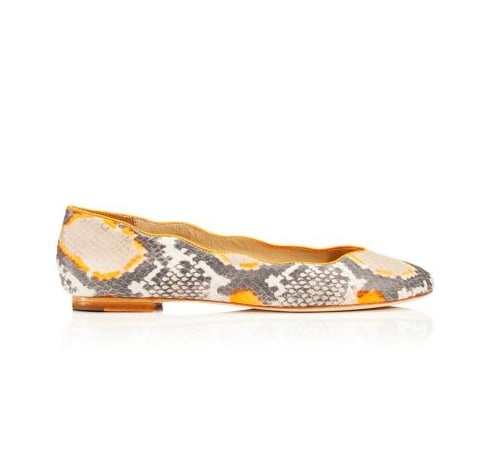 ($228) marry an exotic print and a flash of color for a high-impact everyday shoe.