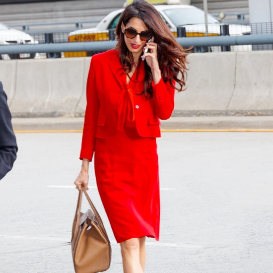 Amal Clooney Orange Bottega Veneta Suit