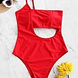 ZAFUL Lace Up One Shoulder Cutout Swimsuit