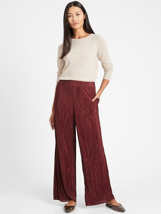 Banana Republic High-Rise Wide-Leg Plisse Pant