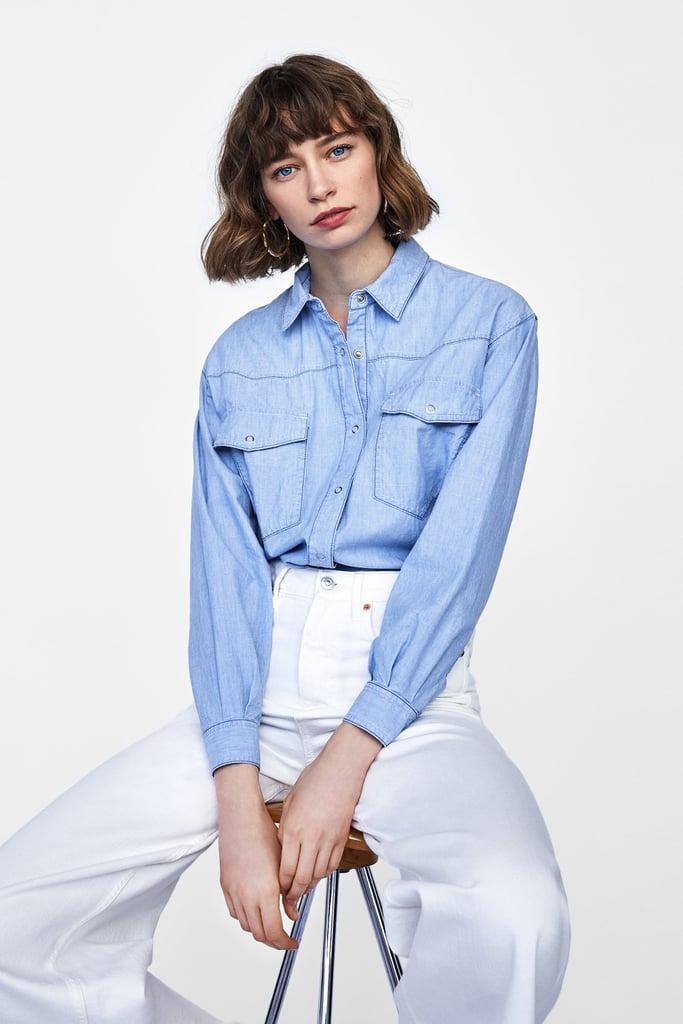 Zara Two-Toned Topstitch Overshirt