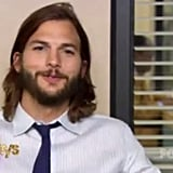 """I was wondering where the half man was."" — Ashton Kutcher in the comedy mashup, on the set of The Office."