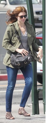 Mandy Moore Wears Green Army Jacket in Los Feliz