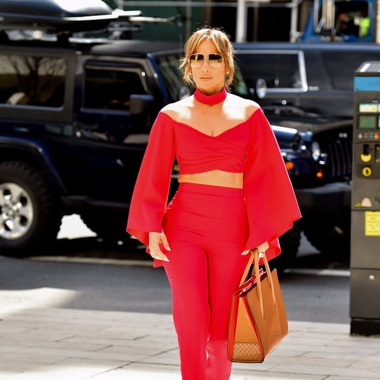 Jennifer Lopez Red Crop Top and Pants Outfit April 2017