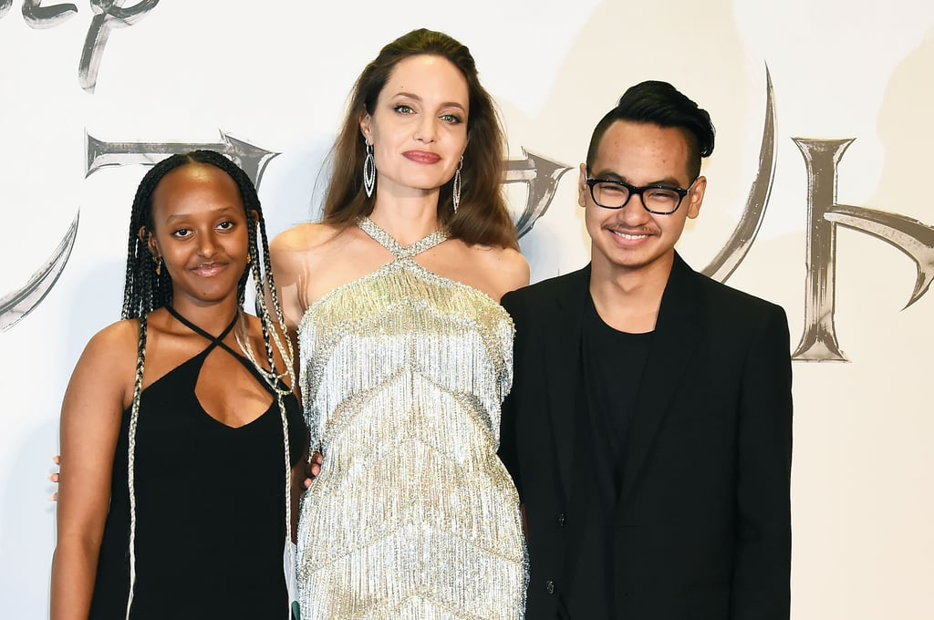 Angelina was accompanied by Zahara and Maddox at the Japan premiere of Maleficent: Mistress of Evil in October 2019.