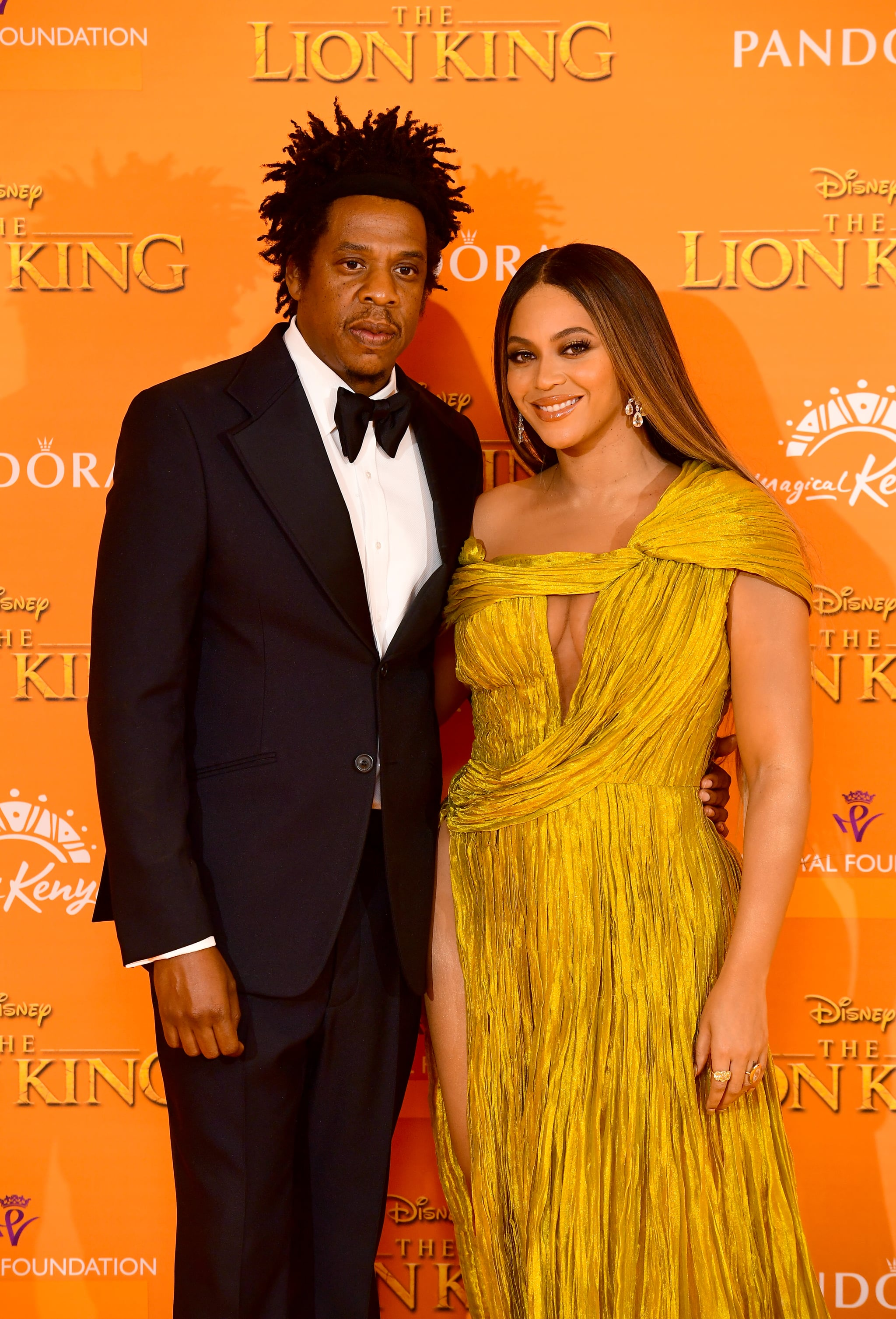 Jay-z and Beyonce attending Disney's The Lion King European Premiere held in Leicester Square, London. (Photo by Ian West/PA Images via Getty Images)