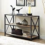 Dark Walnut X-Frame Metal and Wood Bookshelf