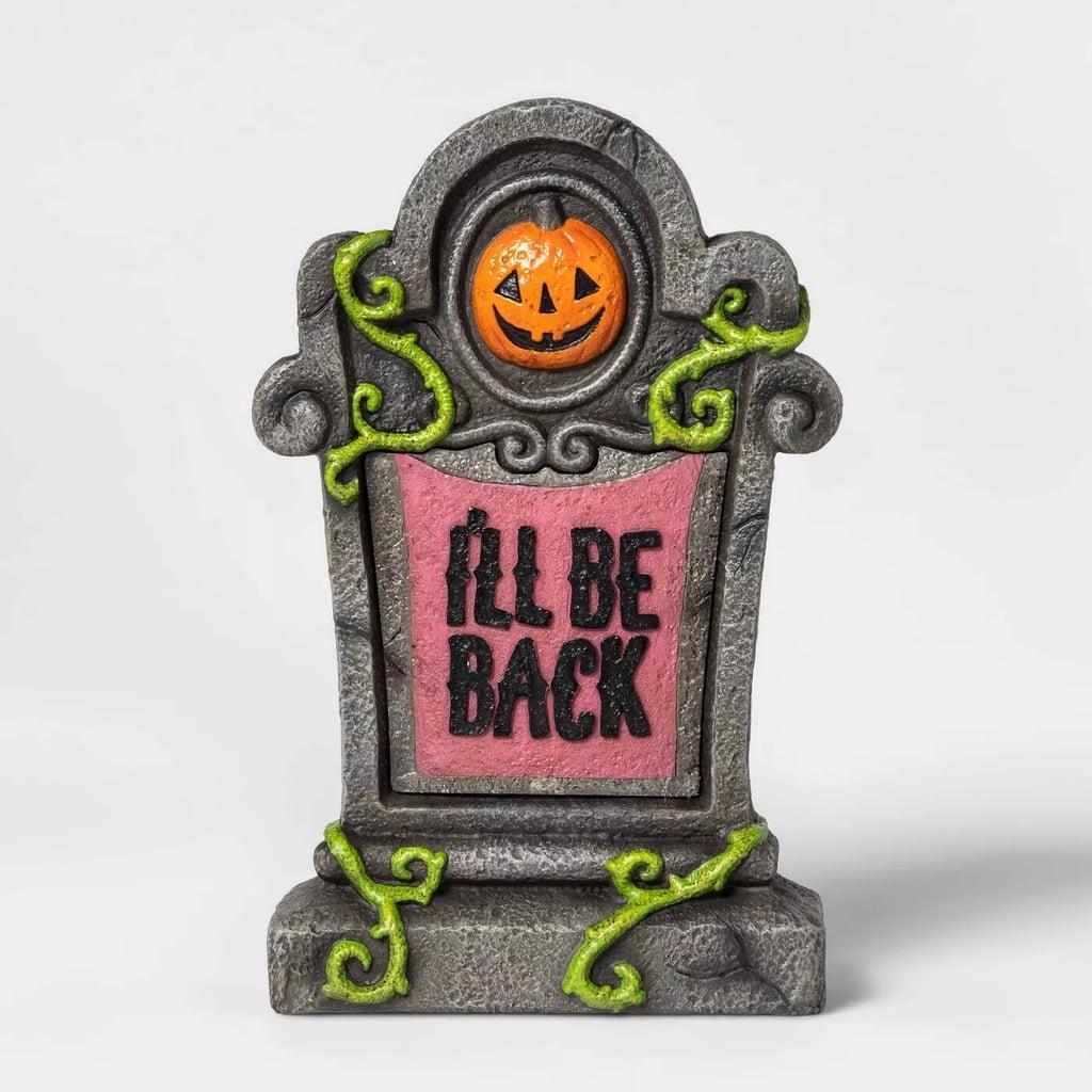 Lit I'll Be Back Halloween Tombstone Décor