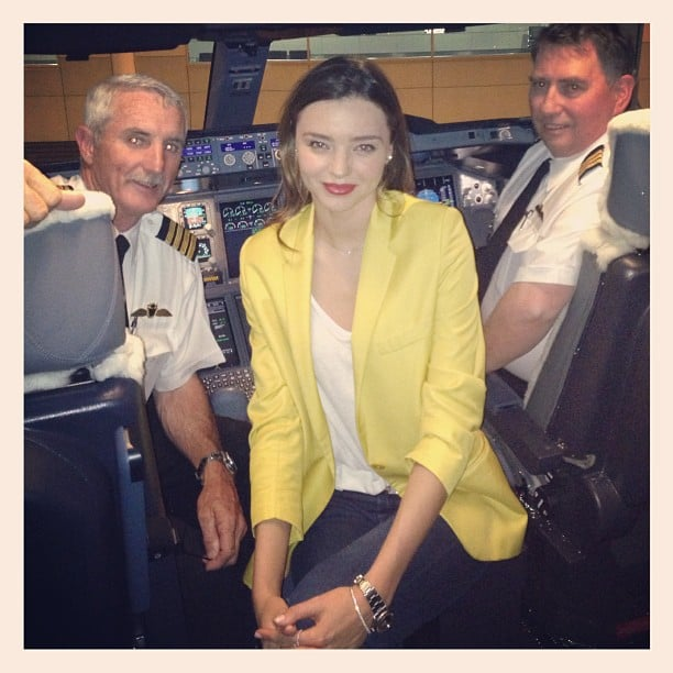 Miranda Kerr posed with pilots on her Qantas Airways flight to Australia. Source: Instagram user mirandakerr