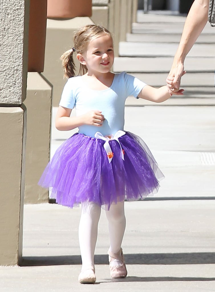 Seraphina was all smiles when Jennifer Garner picked her up from ballet class.