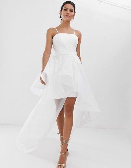 Bariano Bridal Bandeau Organza High-Low Hem Maxi Dress