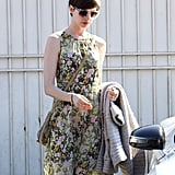 Anne Hathaway made her way to the car on Tuesday in LA.