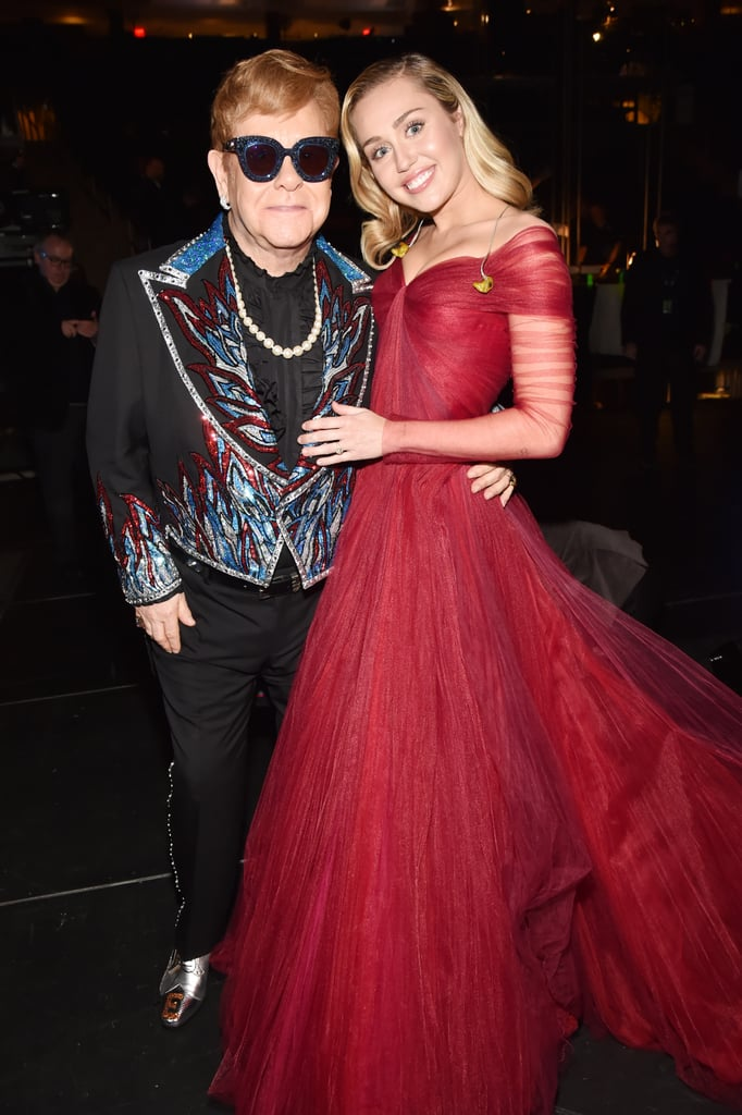 Miley Cyrus Wearing Red Gown at Grammys 2018