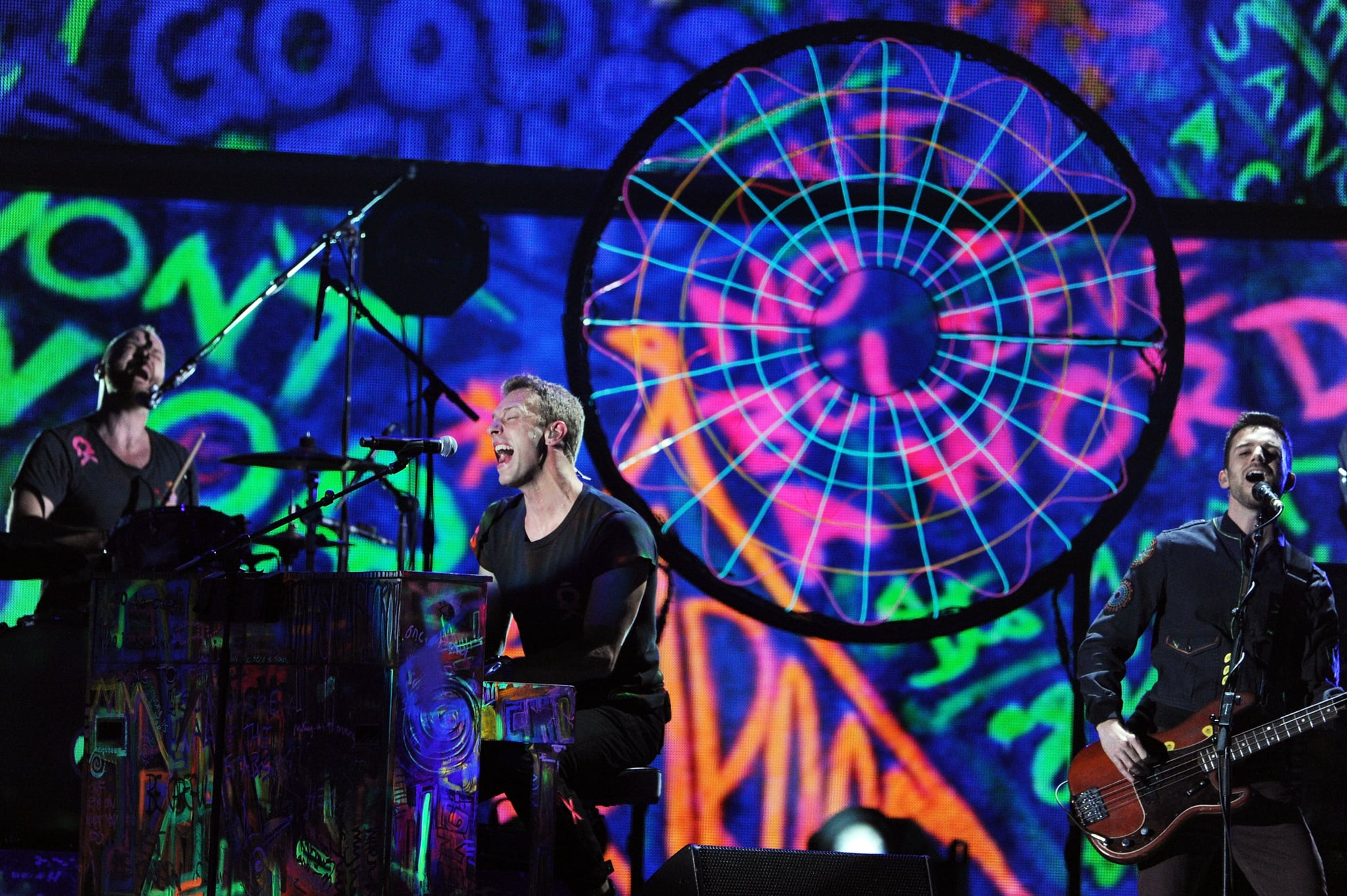 Chris Martin performed at the Grammys.