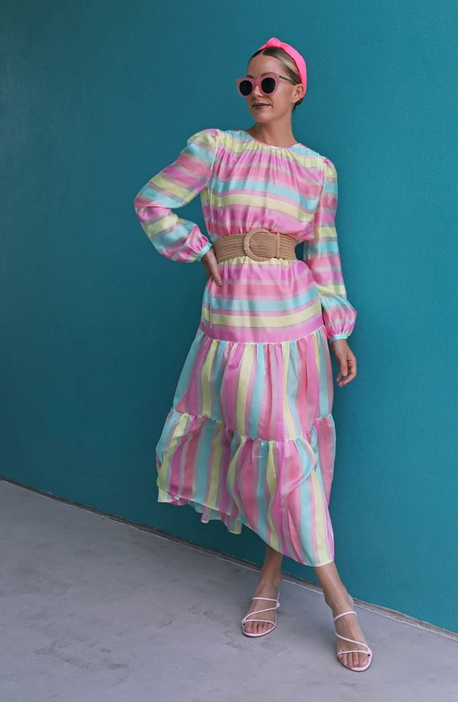 Halogen x Atlantic-Pacific Long-Sleeve Stripe Tiered Organza Dress
