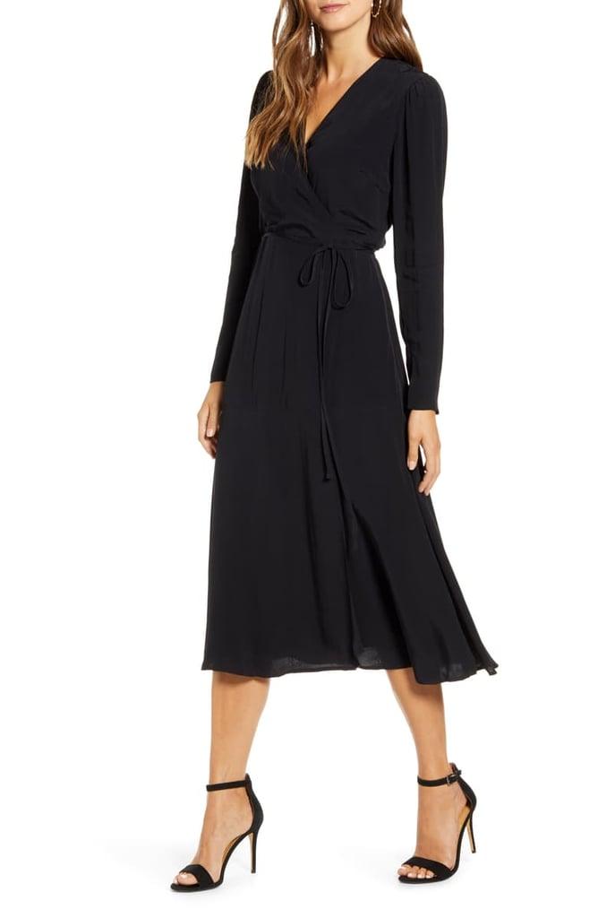 Rachel Parcell Long Sleeve Wrap Midi Dress