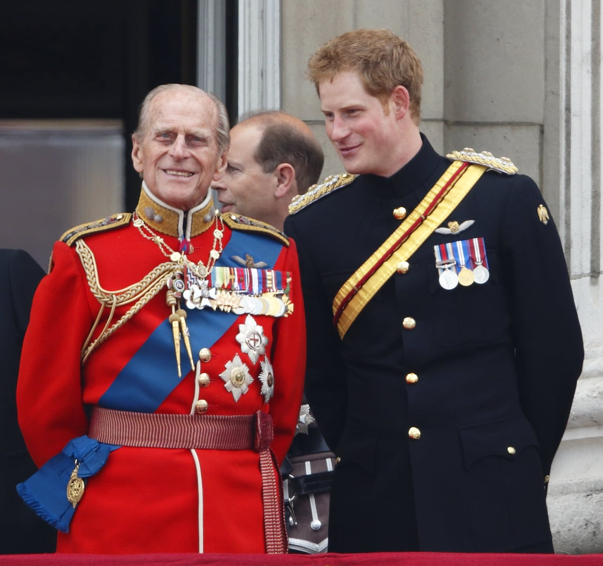 LONDON, UNITED KINGDOM - JUNE 014: (EMBARGOED FOR PUBLICATION IN UK NEWSPAPERS UNTIL 48 HOURS AFTER CREATE DATE AND TIME) Prince Philip, Duke of Edinburgh and Prince Harry watch the fly-past from the balcony of Buckingham Palace during Trooping the Colour, Queen Elizabeth II's Birthday Parade on June 14, 2014 in London, England. (Photo by Max Mumby/Indigo/Getty Images)