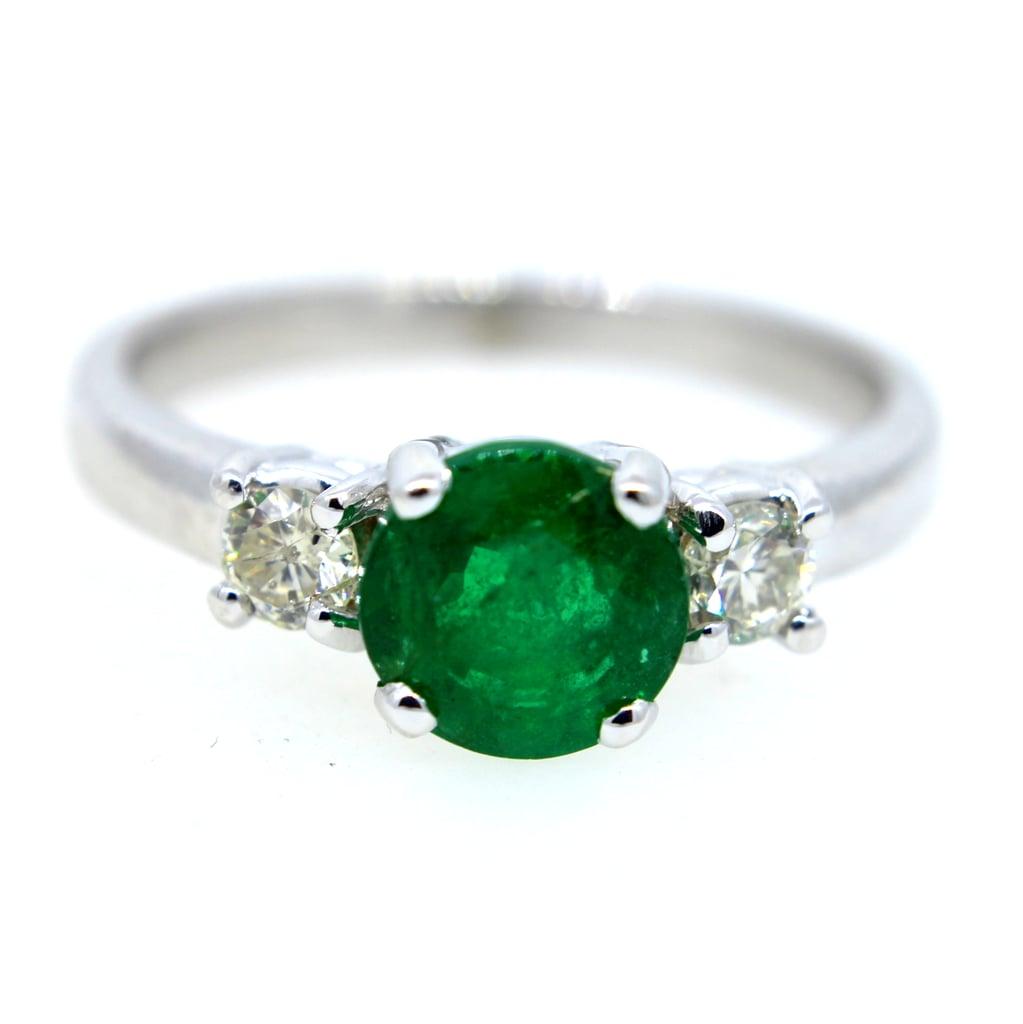 Concierge Diamonds Green Emerald & Diamond Engagement Ring
