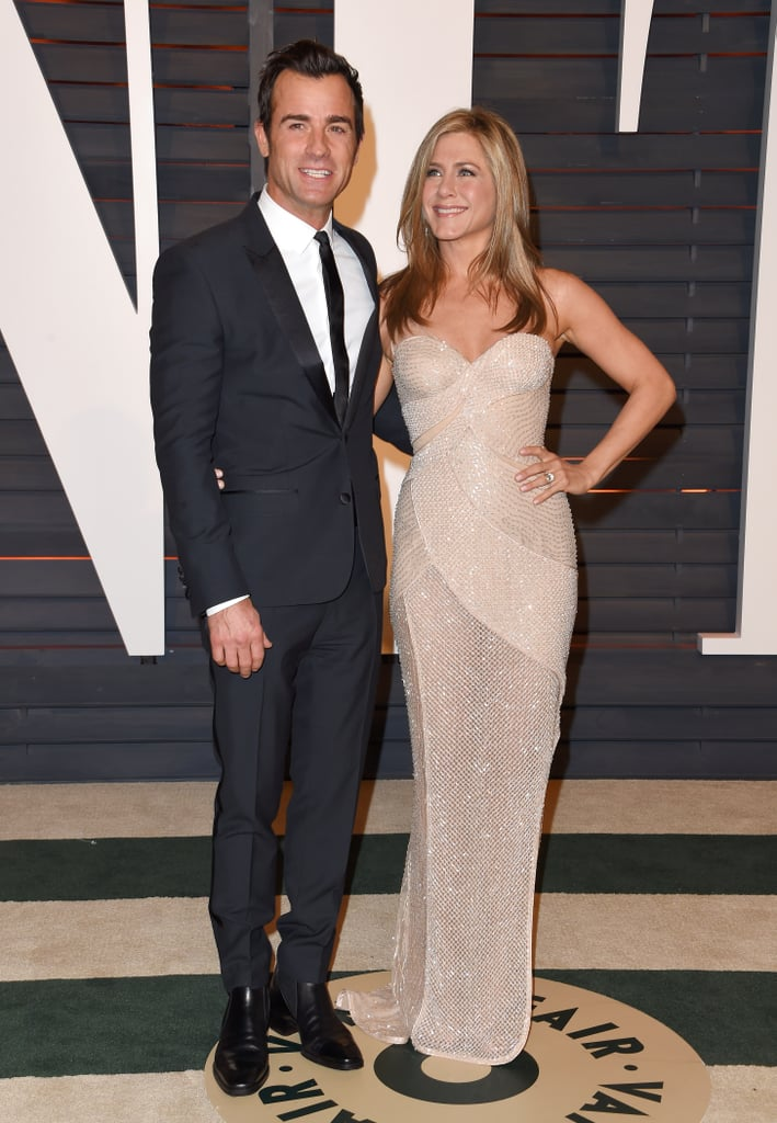 For the 2015 Vanity Fair Oscars party, Jennifer looked sexy in a semi-sheer one-shoulder Versace dress while Justin dazzled in his suit.