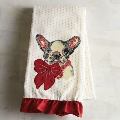 Pier 1 Imports Christmas French Bulldog Tea Towel 13